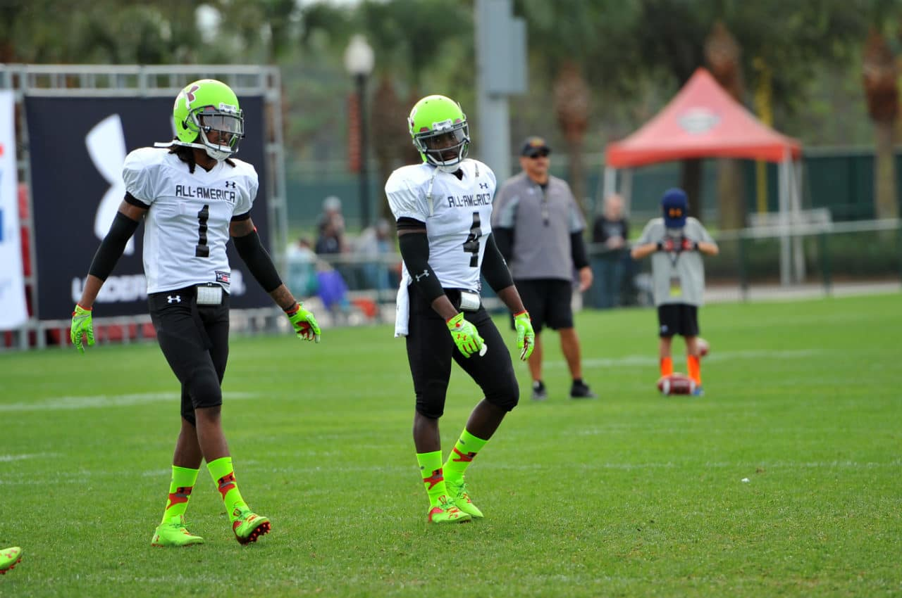 Ermon Lane and Dalvin Cook talk during Under Armour All-American practice.