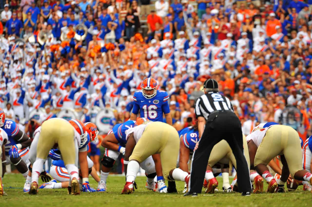 Austin Hardin lines up for a field goal attempt against FSU / Gator Country Photo by David Bowie