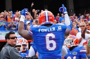 Dante Fowler leads the Gators out of the tunnel before taking on Florida State.