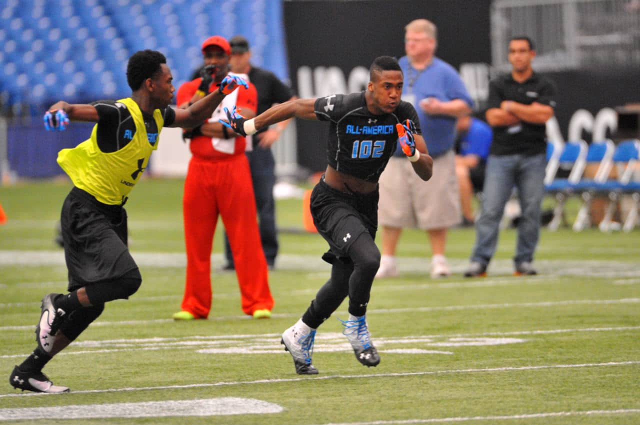 George Campbell works out at the Under Armour All-American combine.