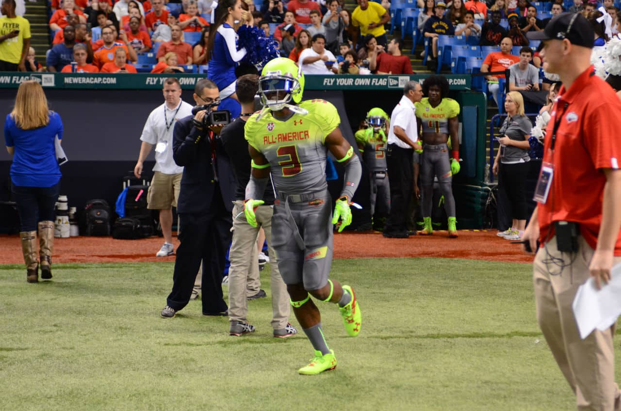 JC Jackson enteres Tropicana Field for the Under Armour All-American game.
