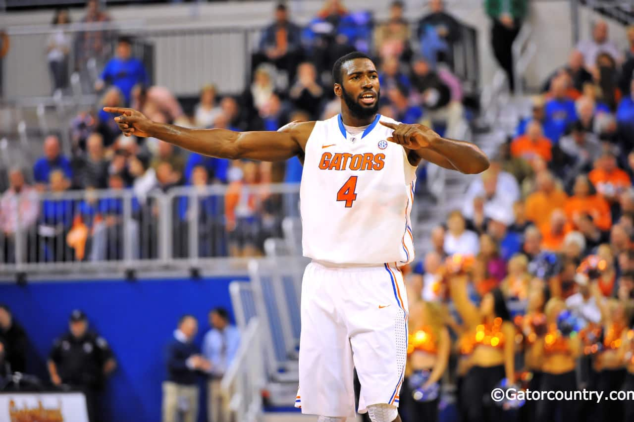 Patric Young directs traffic as the Gators set up their press against Georgia / Gator Country Photo by David Bowie