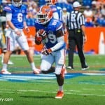 Alvin Bailey warms up before the Gators take on Toledo.