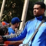 Caleb Brantley greets fans during Gator walk before the Arkansas game.