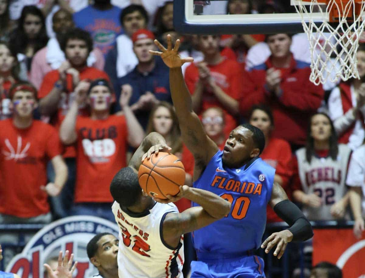 Feb 22, 2014; Oxford, MS, USA; Florida Gators guard Michael Frazier II (20) defends against Mississippi Rebels guard Jarvis Summers (32) at Tad Smith Coliseum. Photo: Nelson Chenault-USA TODAY Sports