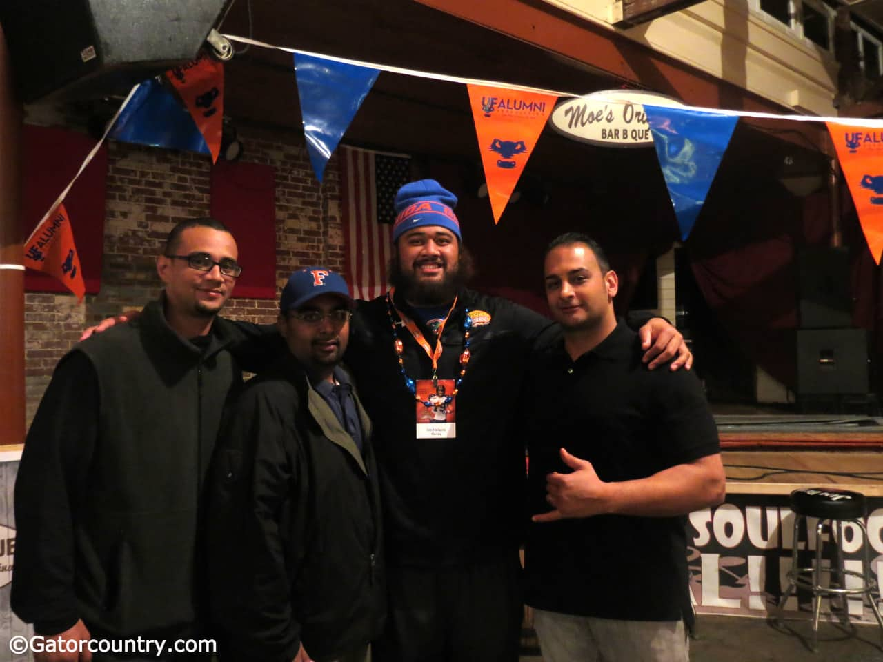 Jon Halapio with his agent and management team at the Senior Bowl.