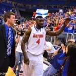 Patric Young acknowledges the cheers after scoring 17 second half points against Auburn Thursday night / Gator Country Photo by David Bowie