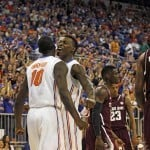 Feb 1, 2014; Gainesville, FL, USA; Florida Gators forward Dorian Finney-Smith (10) chest pumps forward Casey Prather (24) after he was fouled against the Texas A&M Aggies during the first half at Stephen C. O'Connell Center. Photo: Kim Klement-USA TODAY Sports