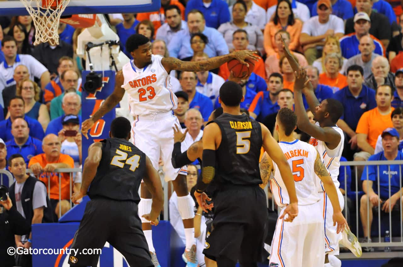 Chris Walker blocks his first shot as a Florida Gator  in the first half against Missouri Tuesday night / Gator Country Photo by David Bowie
