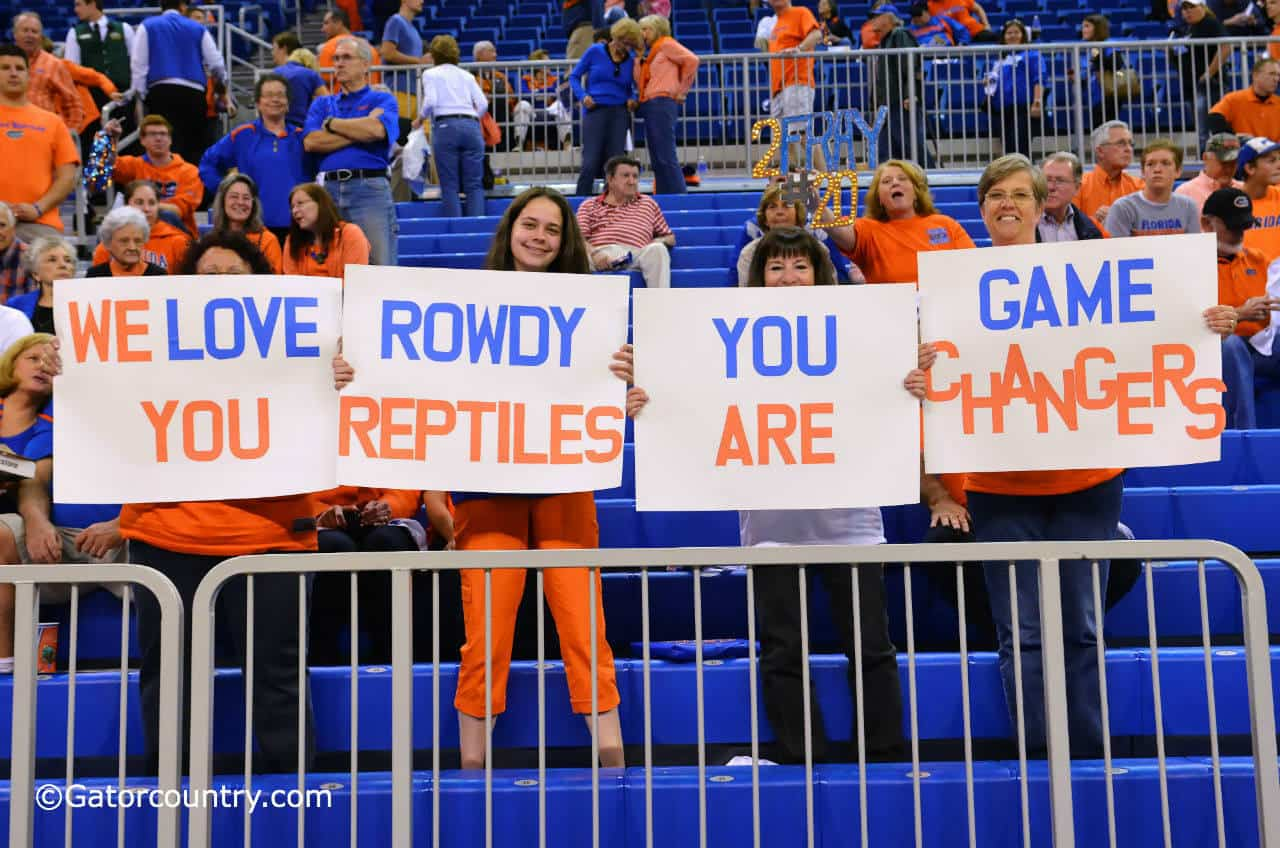 Fans on the alumni side of the O'Connell center show their appreciation of the Rowdies.