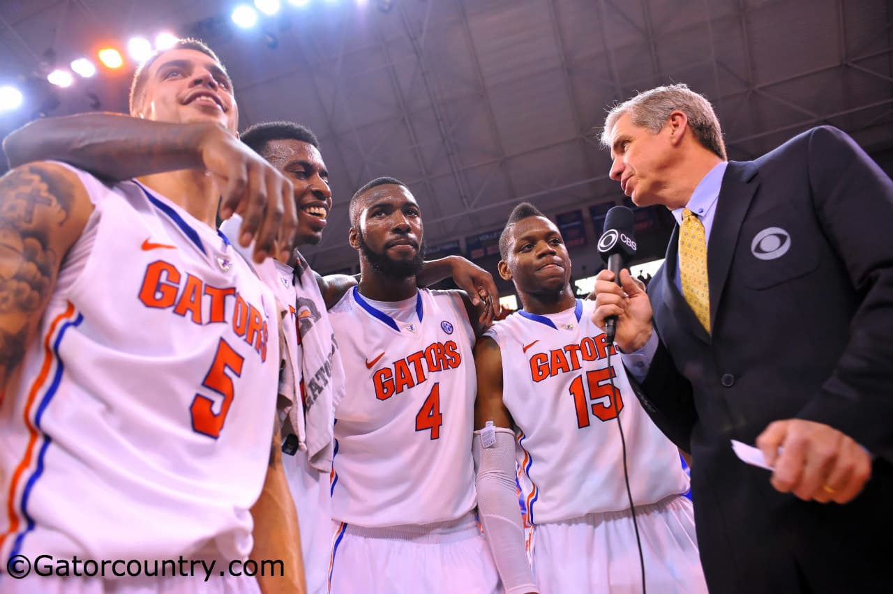 Florida's seniors celebrate an SEC Tournament championship