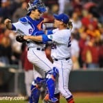 Taylor Gushue and Ryan Harris celebrate Florida's 4-1 win over No. 1 Florida State