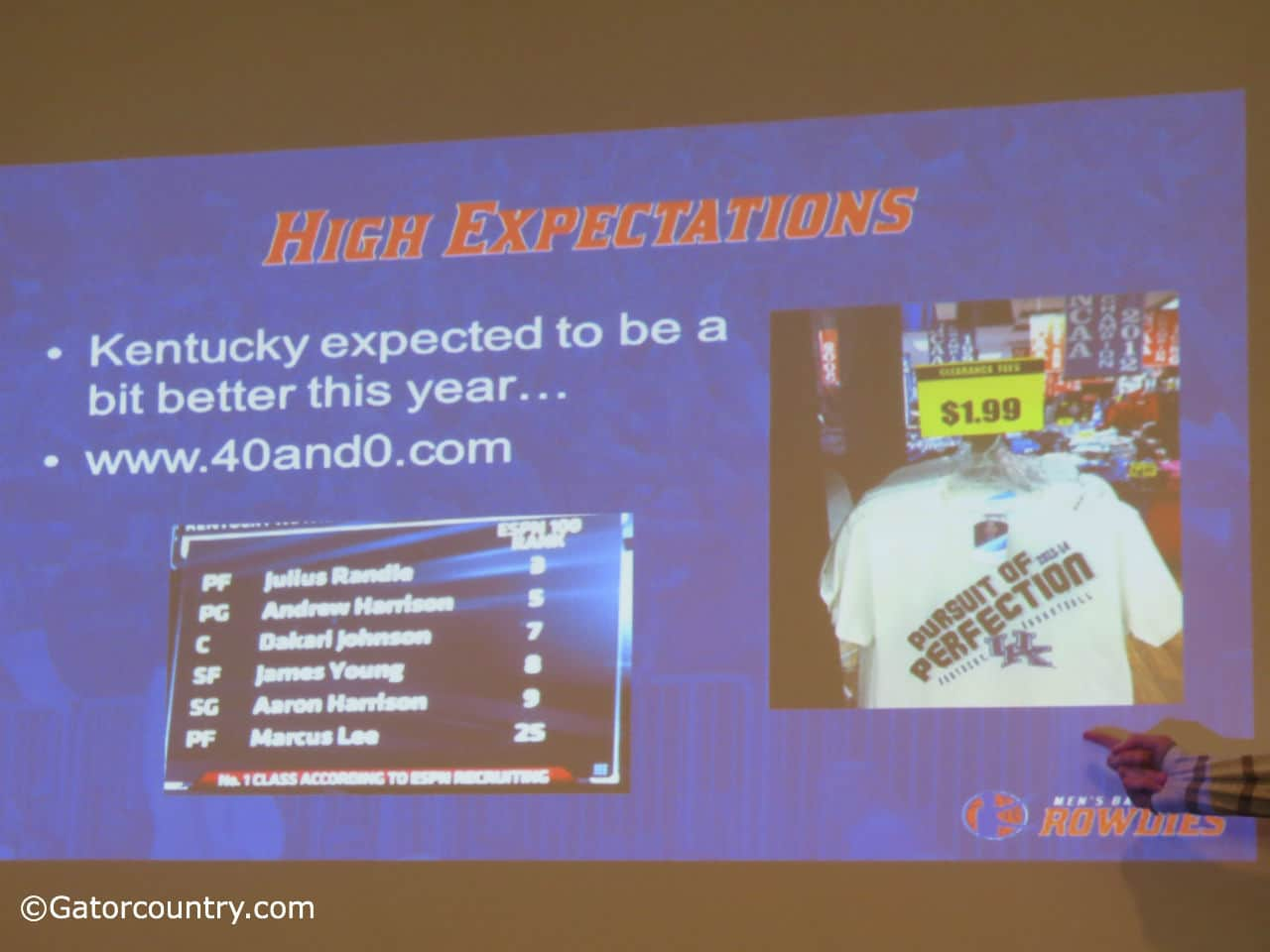 Research and Development chair Ben Rosenthal shows some of the dirt on the Kentucky Wildcats