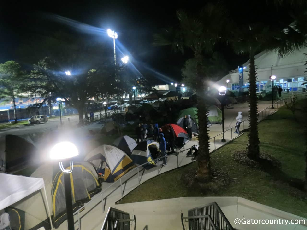 A look at the gate three campout late Friday night.