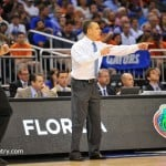 Florida head coach Billy Donovan yells out the call in the second half.  Florida Gators vs Pitt Panthers.  March 22nd, 2014.  Gator Country photo by David Bowie.
