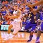Scotitie Wilbekin beats LSU's Anthony Hickey off the dribble in Florida's 79-61 win at the O-Dome / Gator Country photo by David Bowie