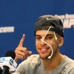 Mar 29, 2014; Memphis, TN, USA; Florida Gators guard Scottie Wilbekin addresses the media after defeating the Dayton Flyers in the finals of the south regional of the 2014 NCAA Mens Basketball Championship tournament at FedEx Forum. Florida won 62-52. Photo by: Spruce Derden-USA TODAY Sports