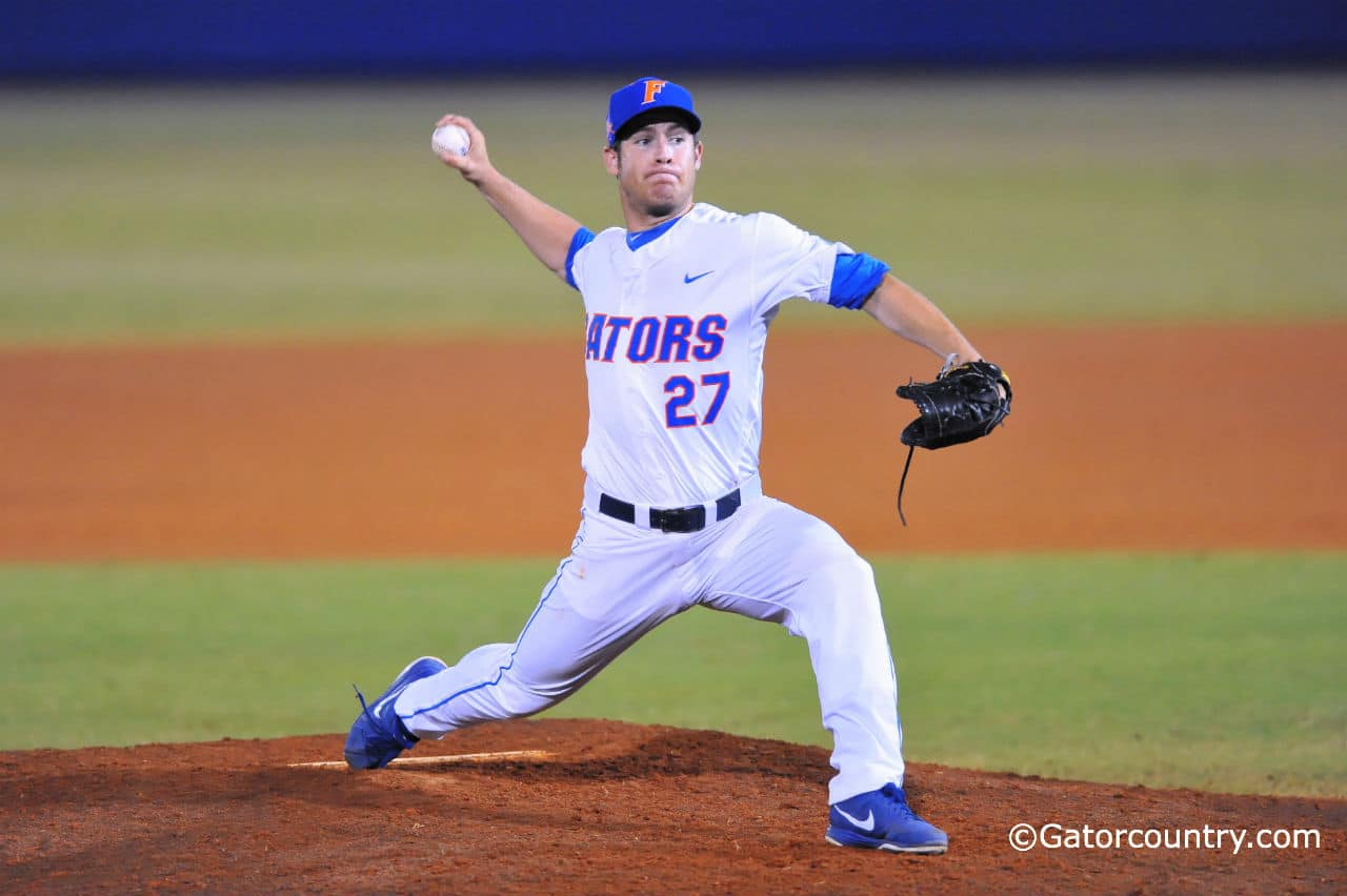 Florida RHP Aaron Rhodes throws to the plate. Gator Country photo by David Bowie.