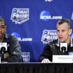 Apr 3, 2014; Arlington, TX, USA; Connecticut Huskies head coach Kevin Ollie and Florida Gators head coach Billy Donovan (right) during a press conference before the semifinals of the Final Four in the 2014 NCAA Mens Division I Championship tournament at AT&T Stadium. Photo by: Bob Donnan-USA TODAY Sports