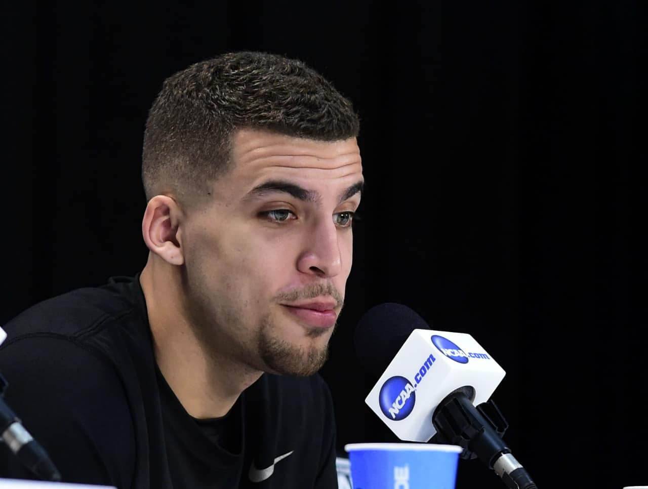 Apr 3, 2014; Arlington, TX, USA; Florida Gators guard Scottie Wilbekin (5) during a press conference before the semifinals of the Final Four in the 2014 NCAA Mens Division I Championship tournament at AT&T Stadium. Photo by: Bob Donnan-USA TODAY Sports