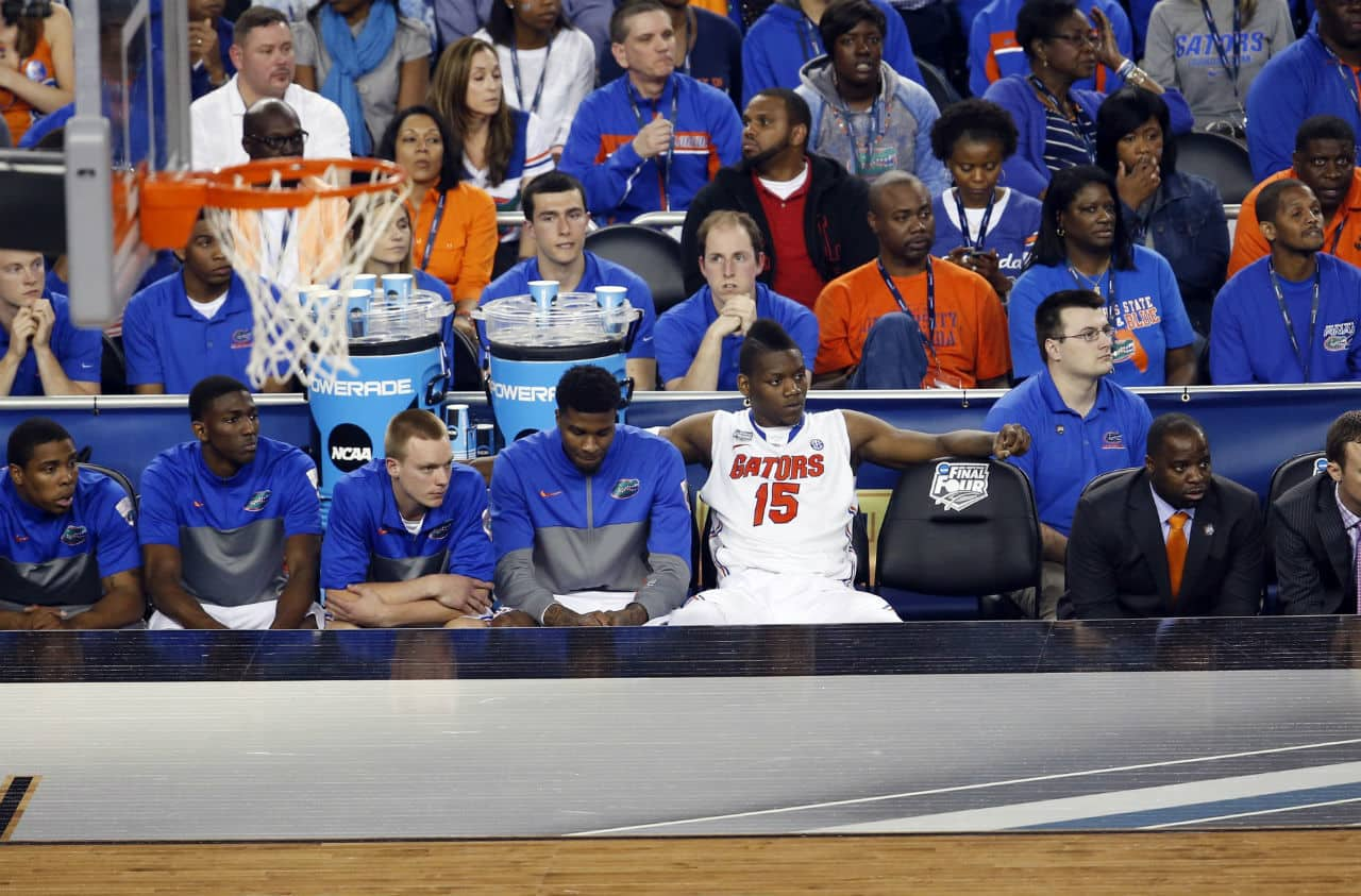 Apr 5, 2014; Arlington, TX, USA; Florida Gators forward Will Yeguete (15) looks on in the second half against the Connecticut Huskies during the semifinals of the Final Four in the 2014 NCAA Mens Division I Championship tournament at AT&T Stadium. Photo by: Matthew Emmons-USA TODAY Sports