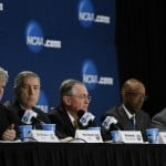 Apr 6, 2014; Arlington, TX, USA; NCAA president Mark Emmert, Big 12 commissioner Bob Bowlsby, Wake Forest University president Nathan Hatch, Chancellor of the University of California Michael Drake, and Kansas State University president Kirk Schulz speak at a press conference before the national championship game between the Kentucky Wildcats and the Connecticut Huskies at AT&T Stadium. Photo by: Kevin Jairaj-USA TODAY Sports