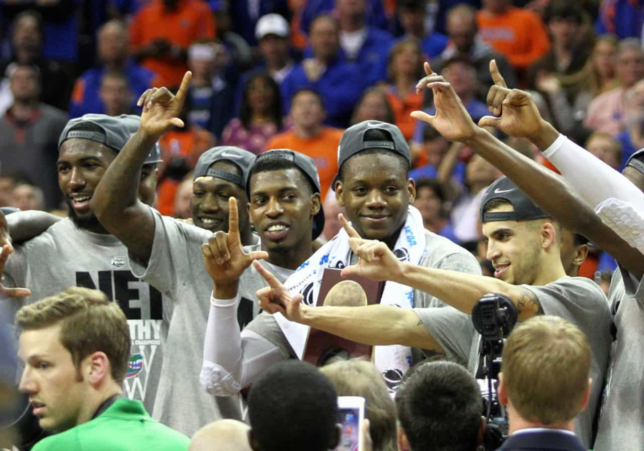 Mar 29, 2014; Memphis, TN, USA; The Florida Gators react after defeating Dayton Flyers in the finals of the south regional of the 2014 NCAA Mens Basketball Championship tournament at FedEx Forum. Florida won 62-52. Photo by: Spruce Derden-USA TODAY Sports