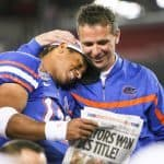 UF senior quarterback Chris Leak (12-Charlotte, N.C.) and head coach Urban Meyer celebrate following the BCS Championship game at University of Phoenix Stadium in Glendale, Ariz. between the Gators and Ohio State on Monday, January 8, 2007. The Gators won 41-14. Photo: Tim Casey