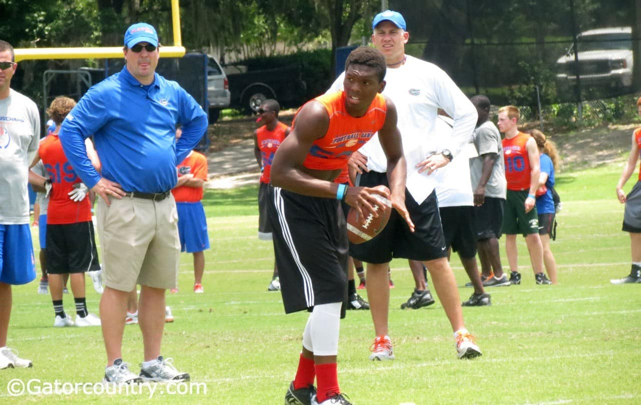 Sheriron Jones works out at Will Muschamp's Florida Gators recruiting camp. / Gator Country photo by David Bowie
