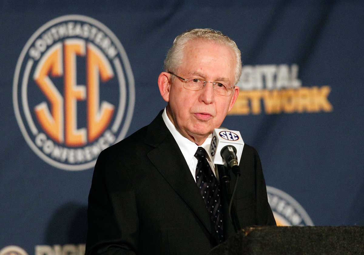 Jul 16, 2013; Hoover, AL, USA; SEC commissioner Mike Slive talks with the media during the 2013 SEC football media days at the Hyatt Regency. Photo:: Marvin Gentry-USA TODAY Sports