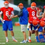 Kurt Roper instructs the quarterbacks during open practice. / Gator Country photo by David Bowie