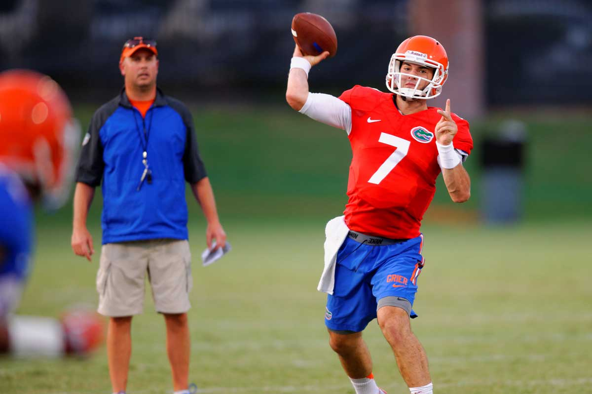 Will Grier throws a pass during fall camp. Gator Country photo by David Bowie.