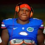 Florida Gators defensive lineman Leon Orr poses for the camera during the rain delay.  Florida Gators vs Idaho Vandals.  August 30th, 2014. Gator Country photo by David Bowie.