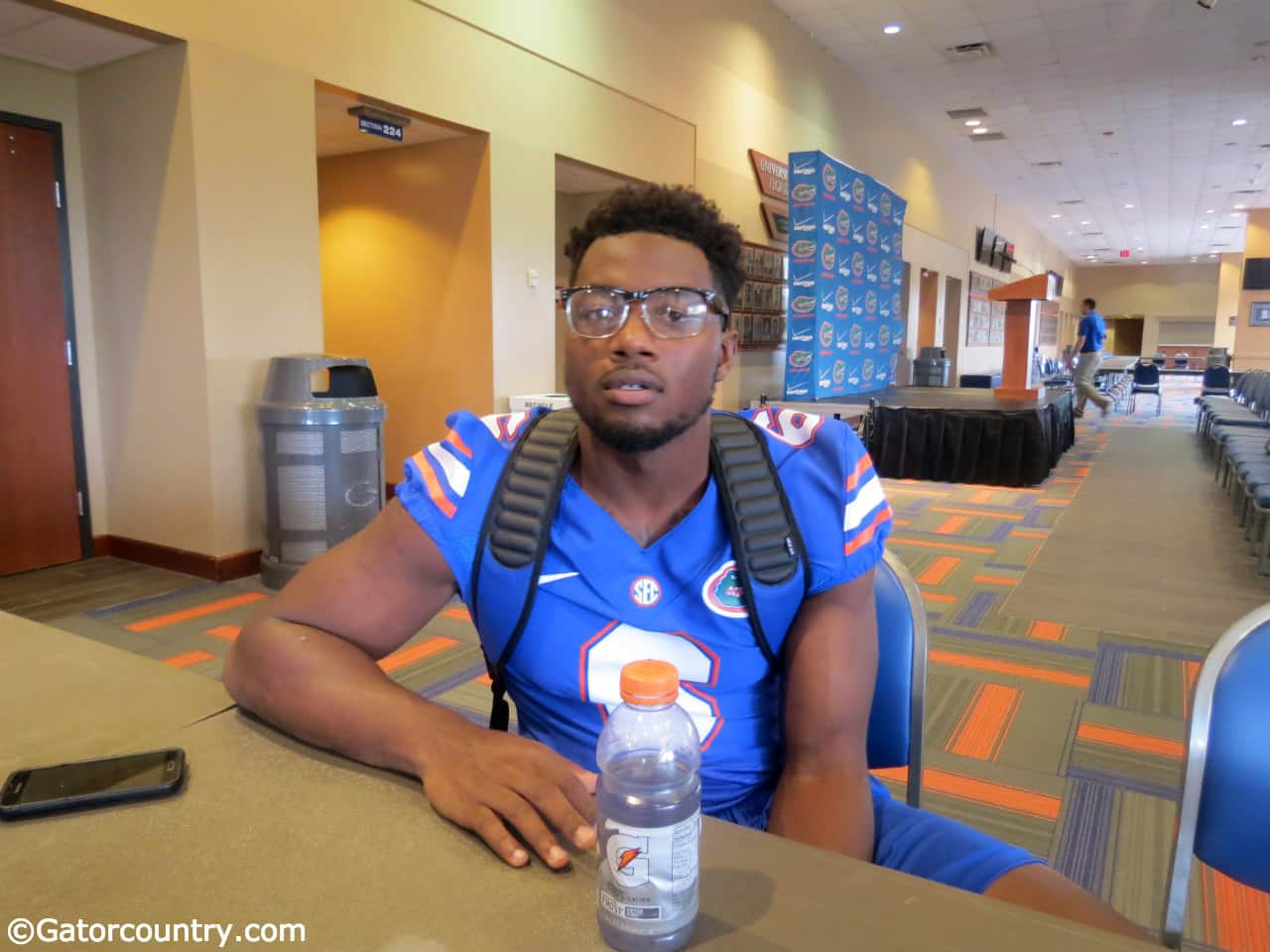 Dante Fowler answers questions at Florida media day. / Photo by Nick de la Torre