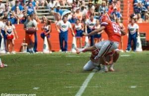 Florida Gators Kicker Frankie Velez in mid-kick @ The Swamp, University of Florida field.