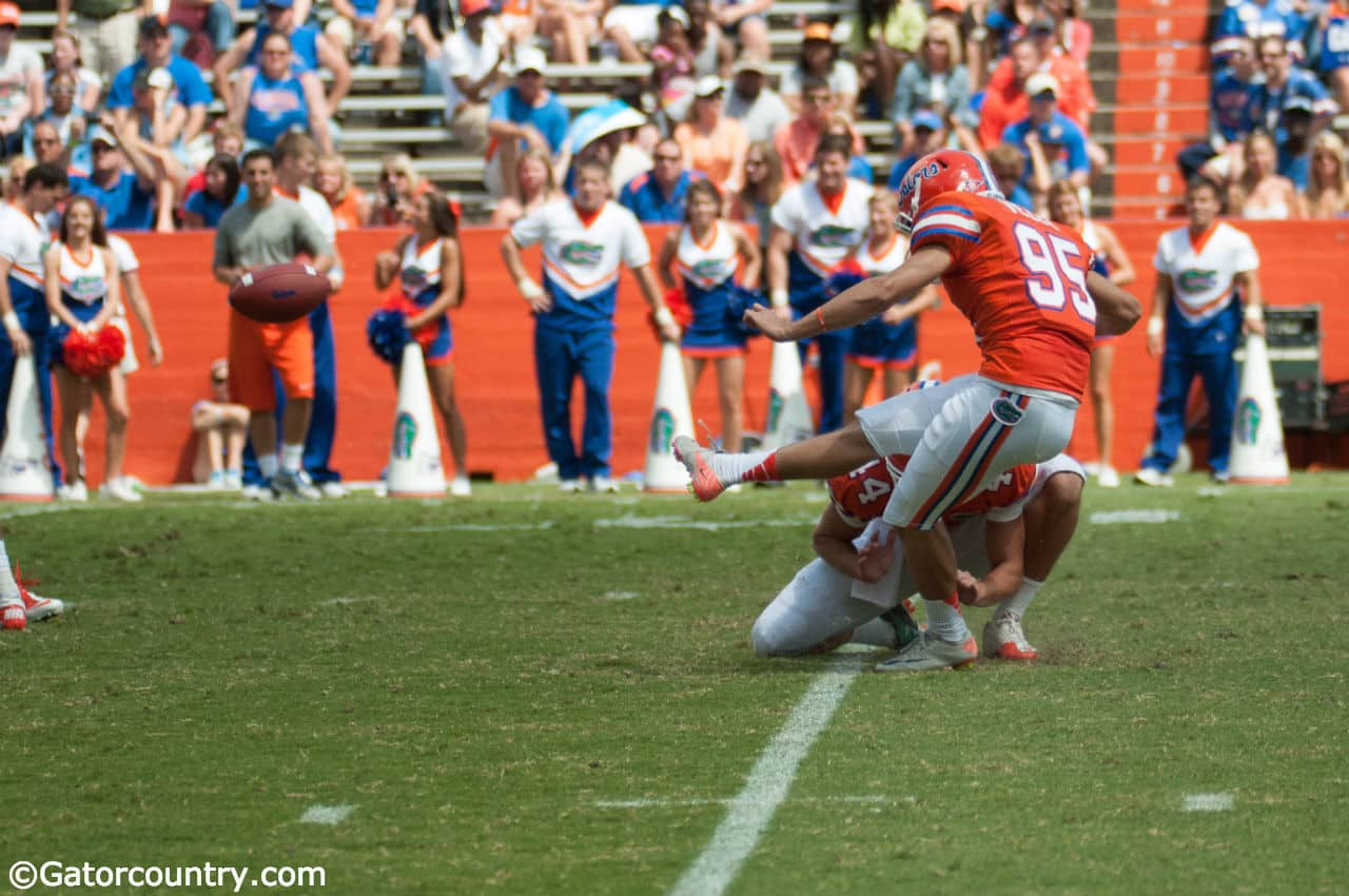 Florida Gators Kicker Frankie Velez in mid-kick @ The Swamp, University of Florida field.