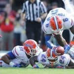 Sep 20, 2014; Tuscaloosa, AL, USA; Florida Gators defensive back Dante Fowler Jr (6) recovers a fumble by Alabama Crimson Tide at Bryant-Denny Stadium. Mandatory Credit: Marvin Gentry-USA TODAY Sports