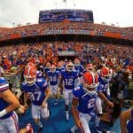 The Florida Gators rush out of the tunnel and onto the field for the start of the game versus Eastern Michigan.  Florida Gators vs Eastern Michigan Eagles.  September 6th, 2014. Gator Country photo by David Bowie.