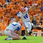 Oct 4, 2014; Knoxville, TN, USA; Florida Gators place kicker Austin Hardin (16) kicks a field goal during the fourth quarter for the winning score against the Tennessee Volunteers at Neyland Stadium. The Gators won 10-9 Mandatory Credit: Randy Sartin-USA TODAY Sports