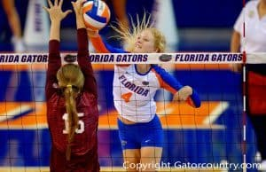 The Florida Gators volleyball team playing in the Stephen C. O'Connell Center-Florida Gators Volleyball-1000x666