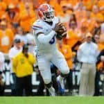 Oct 4, 2014; Knoxville, TN, USA; Florida Gators quarterback Treon Harris (3) prepares to throw the ball during the fourth quarter against the Tennessee Volunteers at Neyland Stadium. The Gators won 10-9 Mandatory Credit: Randy Sartin-USA TODAY Sports