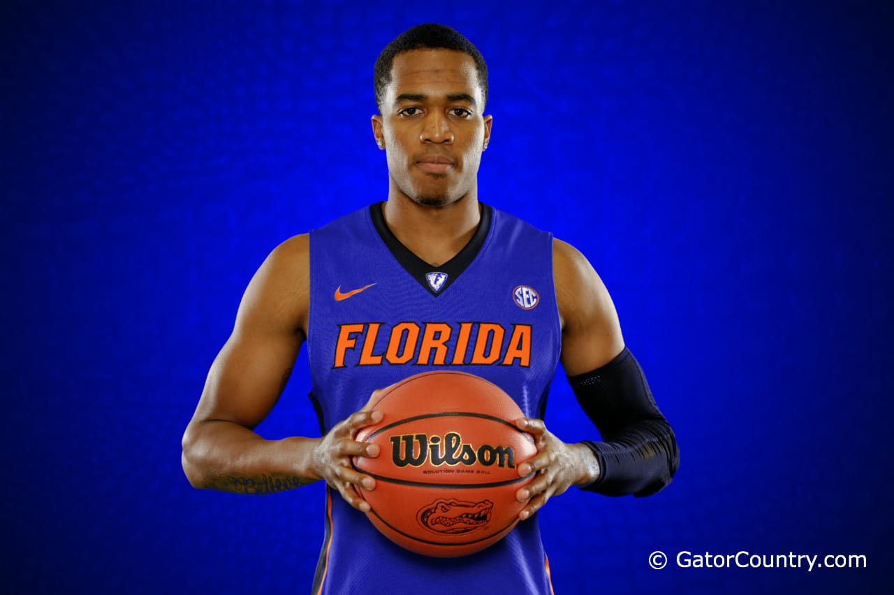 Florida Gators  poses during Florida Gators basketball media day.  Florida Gators Basketball Media Day.  October 15th, 2014. Gator Country photo by David Bowie.