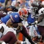 Nov 22, 2014; Gainesville, FL, USA; Florida Gators quarterback Jeff Driskel (6) runs with the ball against the Eastern Kentucky Colonels during the first quarter at Ben Hill Griffin Stadium. Mandatory Credit: Kim Klement-USA TODAY Sports