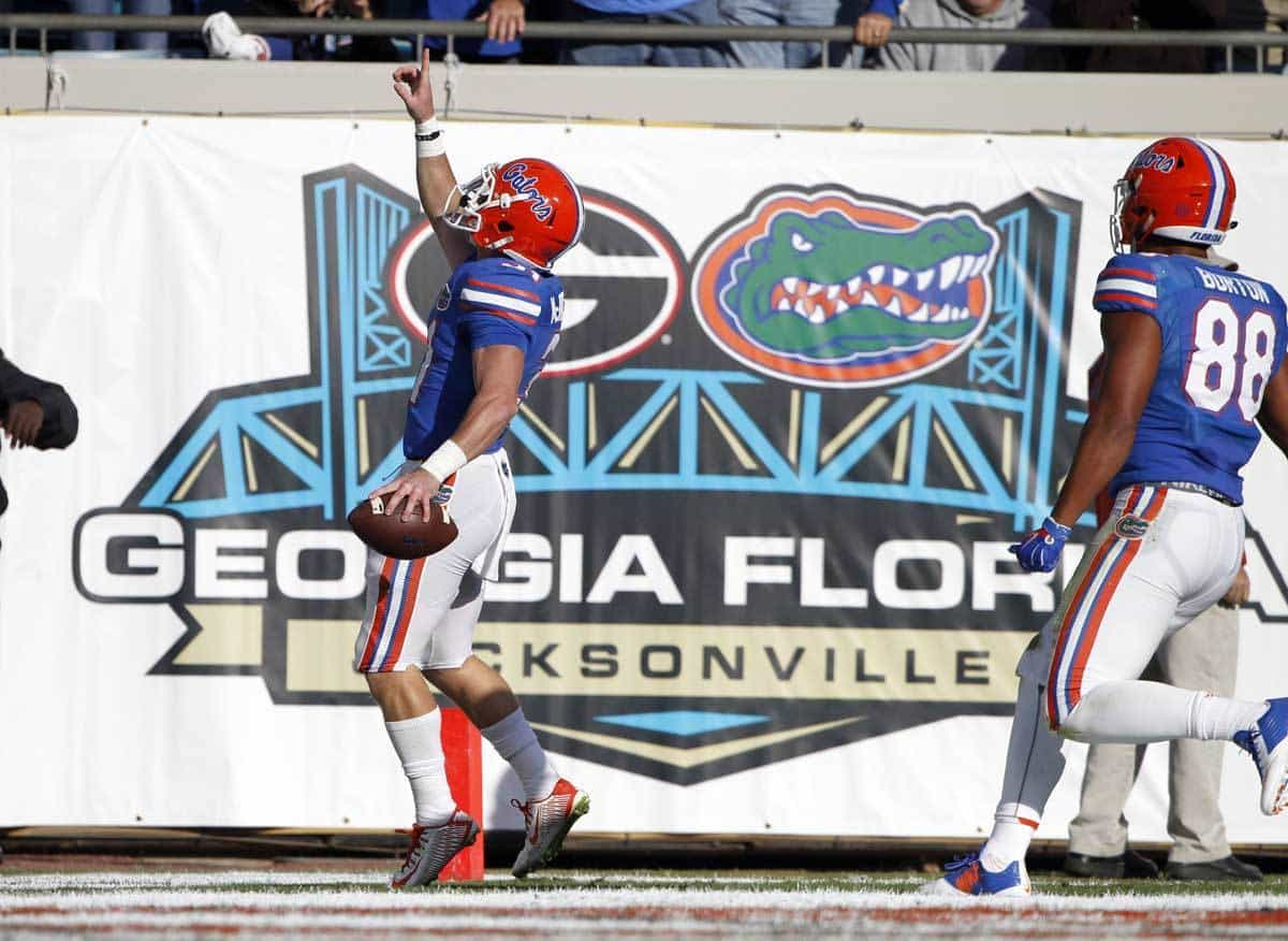 Nov 1, 2014; Jacksonville, FL, USA; Florida Gators field goal holder Michael McNeely (31) runs the ball in for a touchdown during the first half against the Georgia Bulldogs at EverBank Field. Mandatory Credit: Kim Klement-USA TODAY Sports