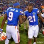 Florida Gators running back Kelvin Taylor and Florida Gators wide receiver Latroy Pittman celebrate following their win.  Florida Gators vs Georgia Bulldogs. November 1st, 2014. Gator Country photo by David Bowie.