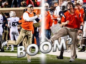 Auburn Head coach Gus Malzahn and defensive coordinator Will Muschamp, both known as Coach Boom/Zach Bland, Auburn Photographer