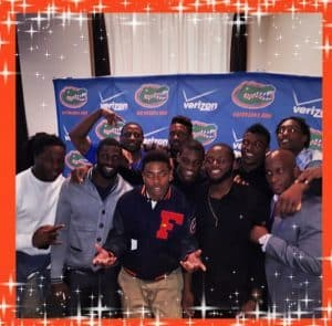 Defensive Backs and DB coach T. Robinson at UF 2014 Team Banquet/Monique Dawson Instagram