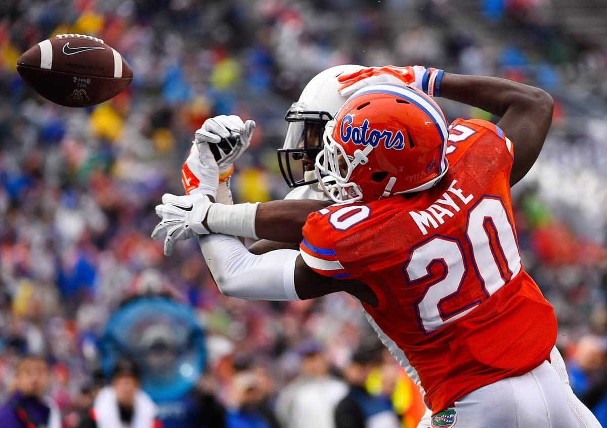 Jan 3, 2015; Birmingham, AL, USA; Florida Gators defensive back Marcus Maye (20) breaks up a pass against East Carolina Pirates wide receiver Justin Hardy (2) during the second quarter of the 2015 Birmingham Bowl at Legion Field. Mandatory Credit: Mike DiNovo-USA TODAY Sports