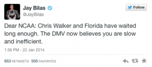 Jay Bilas tweets frustration at NCAA over handling of Chris Walker.