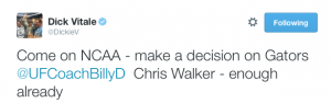 Dick Vitale tweets frustration at NCAA over handling of Chris Walker.